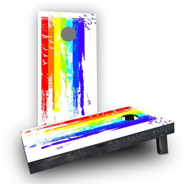 Gay Pride Rainbow Paint with Birds Cornhole Boards (Set of 2) by Custom Cornhole Boards