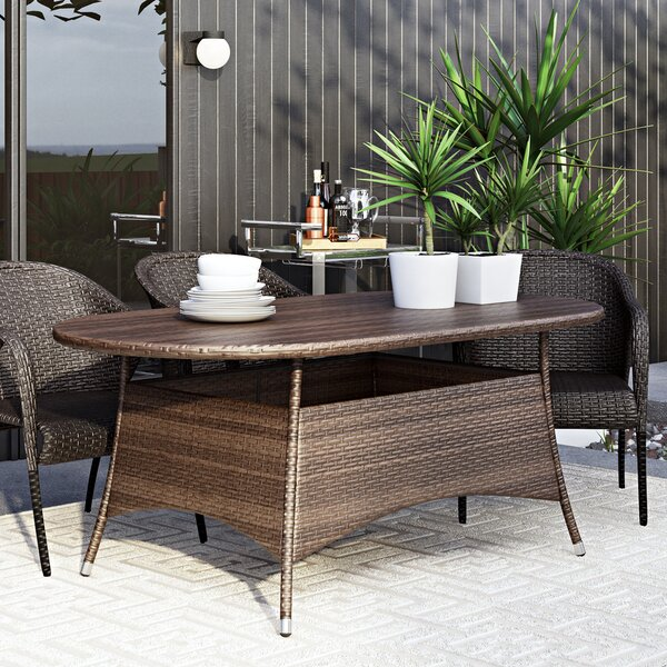 Bleich Outdoor Wicker Dining Table by Wade Logan