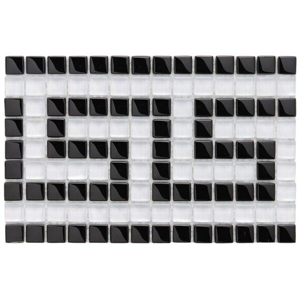 Sierra Greek Key 0.57 x 0.57 Glass Mosaic Tile in Black/White by EliteTile