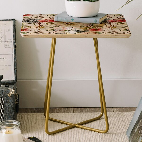 Marta Barragan Blooming in the Garden Square End Table by East Urban Home East Urban Home