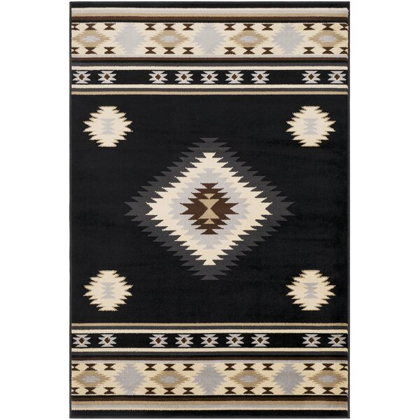 Thornton Bohemian/Global Black/Cream Area Rug by Millwood Pines