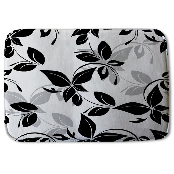 Aneesah Designer Rectangle Non-Slip Floral Bath Rug