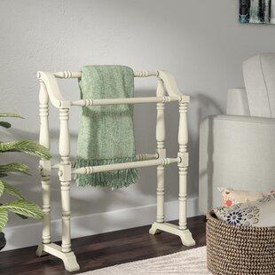 Cottage White Wood Quilt Rack