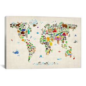'Animal Map of the World II' Graphic Art Print by East Urban Home