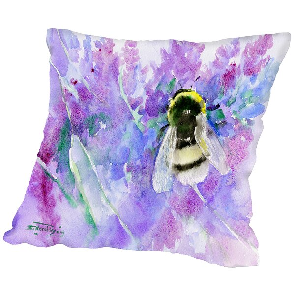 Bumblebee and lavender Throw Pillow by East Urban Home