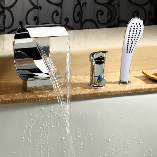 Single Handle Deck Mount Tub Faucet with Hand Shower by Kokols