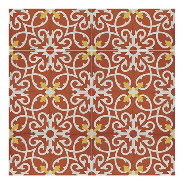 Agadir 8 x 8 Handmade Cement Tile in Red/White by Moroccan Mosaic