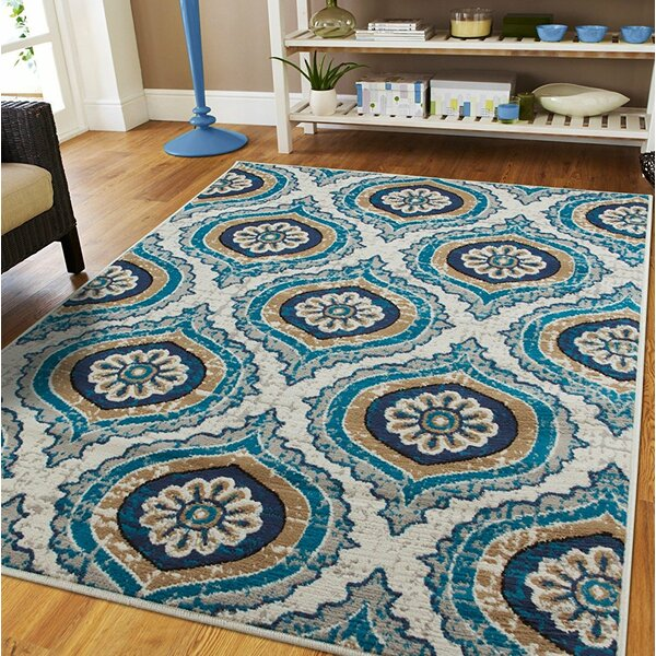 Gottesdiener Ivory/Blue Indoor/Outdoor Area Rug by Ebern Designs