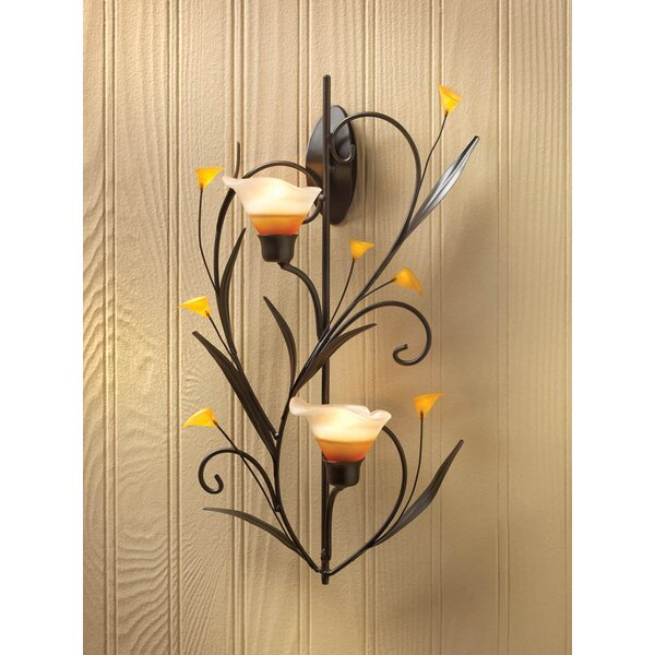 Two Lily Cups Iron Sconce by Fleur De Lis Living