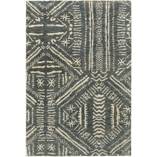 Amerie Hand-Knotted Teal/Cream Area Rug by Bloomsbury Market