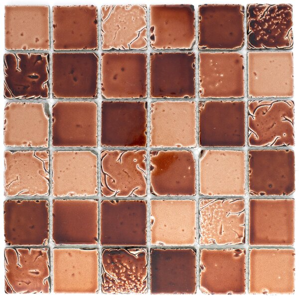 Square Travertine Look 2 x 2 Glass Mosaic Tile in Antique Coffee Brown by Multile