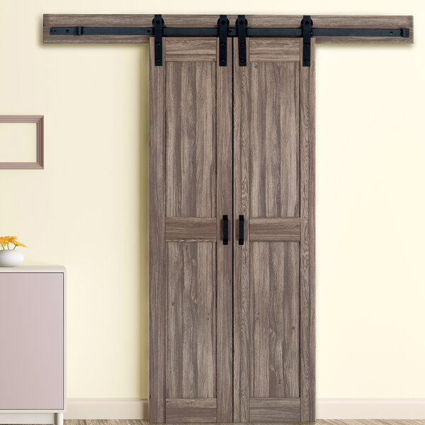 Duplex Solid MDF Panelled Prehung Interior Barn Door by Erias Home Designs