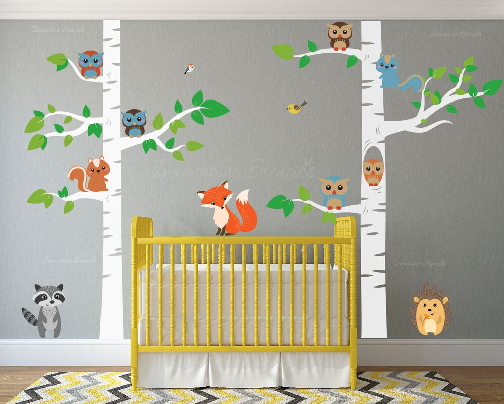 12 Piece Birch Tree Nursery Wall Decal Set
