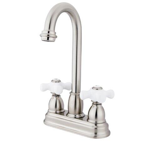 Porcelain Cross Double Handle Kitchen Faucet By Elements Of Design