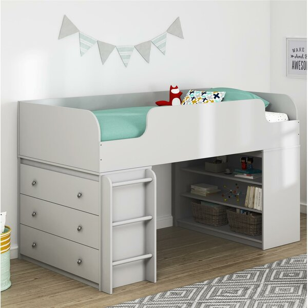 Amak Panel Twin Low Loft Panel Bed with Drawers and Bookcase and Ladder and Dresser by Mack & Milo