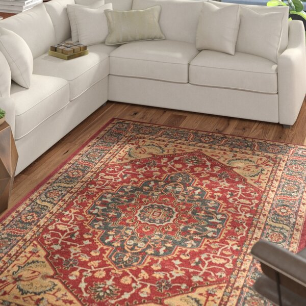 Donner Beige/Red Area Rug by Mercury Row