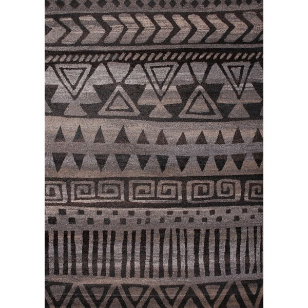 Broadbent Dark Gray/Chocolate Indoor Area Rug by Foundry Select