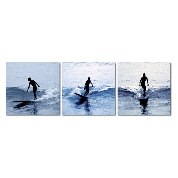 Baxton Studio Surf Silhouettes 3 Piece Framed Photographic Print on Wrapped Canvas Set by Wholesale Interiors