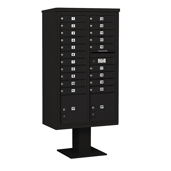Pedestal Mounted 20 Units 23 Door Front Load 4C Horizontal Cluster Box Unit with 2 Parcel Lockers by Salsbury Industries
