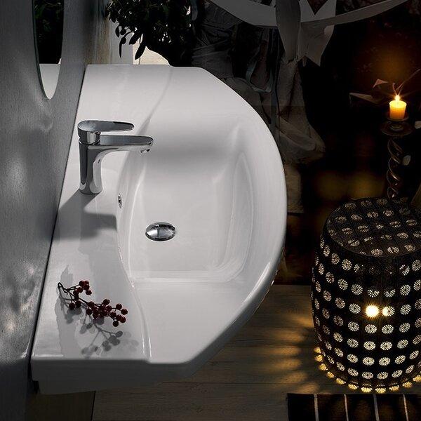 Focus Ceramic U-Shaped Wall-Mount Bathroom Sink with Overflow