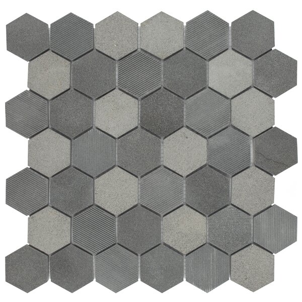 Formation 1.88 x 1.88 Hex Volcanic Stone Mosaic Tile in Black by EliteTile