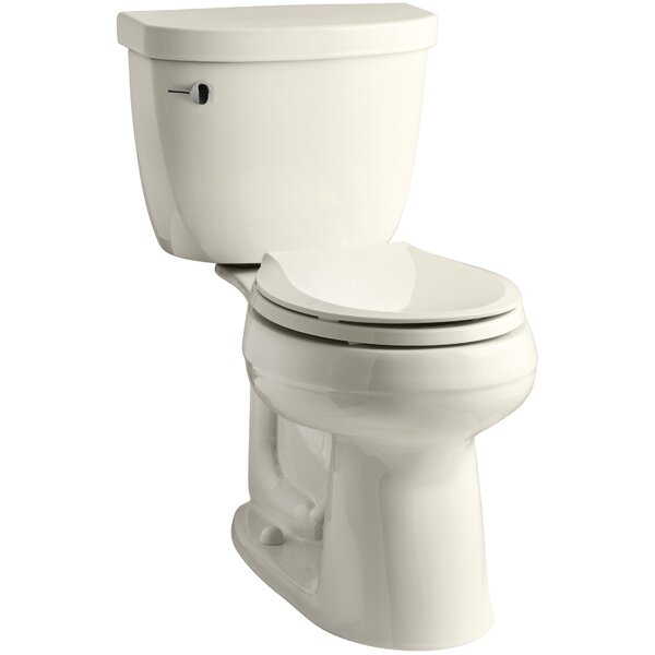 Cimarron Comfort Height® 2-Piece Round-Front 1.28 GPF Toilet with Aquapiston Flush Technology and Left-Hand Trip Lever by Kohler