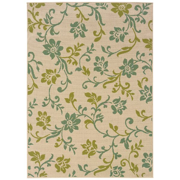 Newfield Ivory/Green Indoor/Outdoor Area Rug by Threadbind