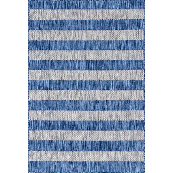 Hooks Blue/Gray Indoor/Outdoor Area Rug by Breakwater Bay