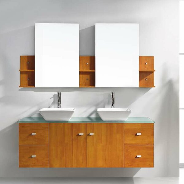 Decastro 61 Double Bathroom Vanity Set with Tempered Glass Top and Mirror by Mercury Row