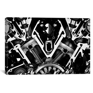'Car Engine Front Grayscale' Graphic Art Print by East Urban Home