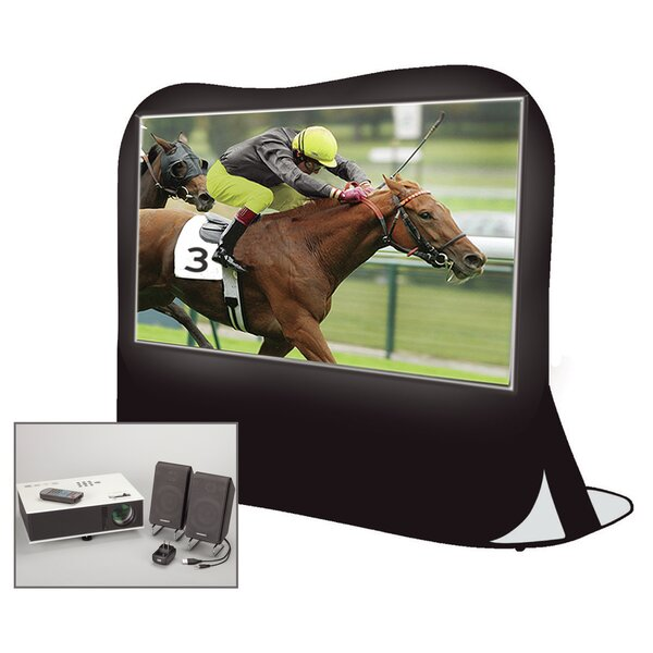 Instant Theater Pop-Up White 84 Portable Projection Screen with Projector, Speakers & Carry Bag by Artistic Products