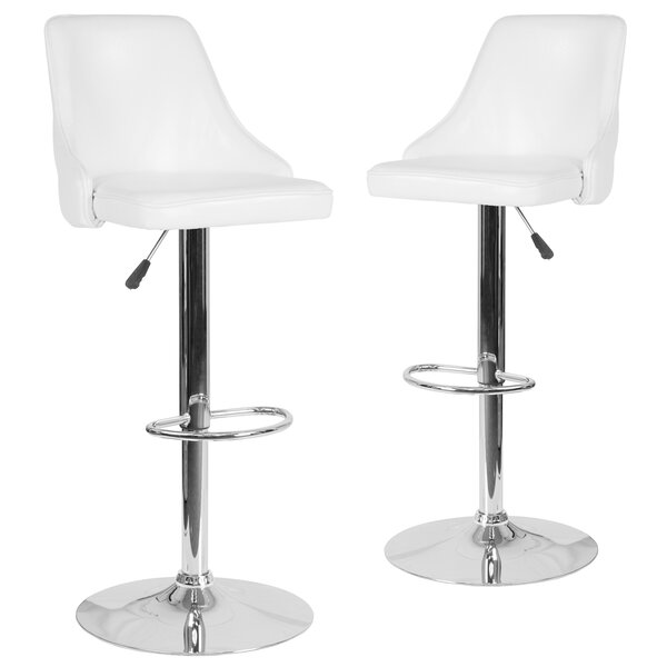 Glencoe Adjustable Height Bar Stool (Set of 2) by Wrought Studio