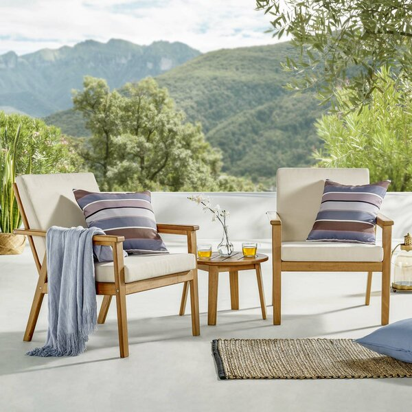 Alaric 3 Piece Seating Group with Cushions by Rosecliff Heights