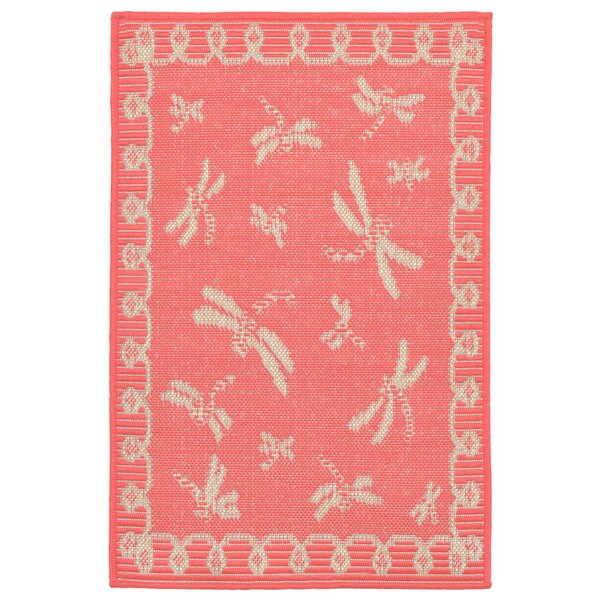 Clatterbuck Dragonfly Pink/Beige Indoor/Outdoor Area Rug by Highland Dunes