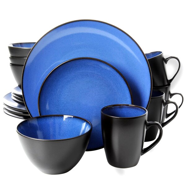 Gibson Soho Lounge Round 16 Piece Dinnerware Set, Service for 4 by Coca Cola