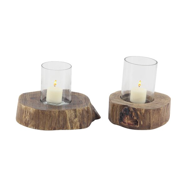Rustic 2 Piece Wood Hurricane Set by Union Rustic