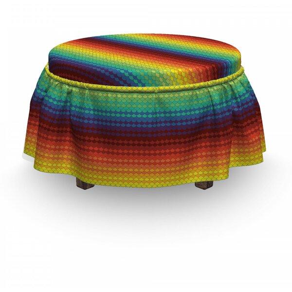 Fiesta Rainbow Scale 2 Piece Box Cushion Ottoman Slipcover Set By East Urban Home