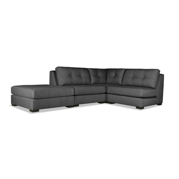 Glaude Buttoned L-Shape Modular Sectional With Ottoman By Brayden Studio®