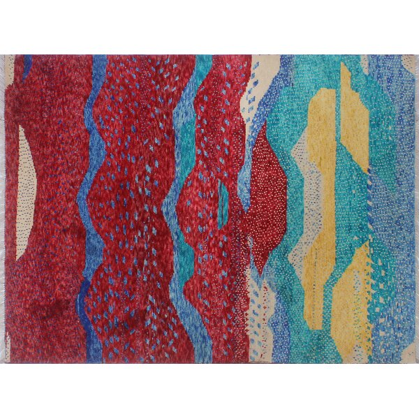 Merchant Hand-Knotted Wool Red/Blue Area Rug by Ebern Designs