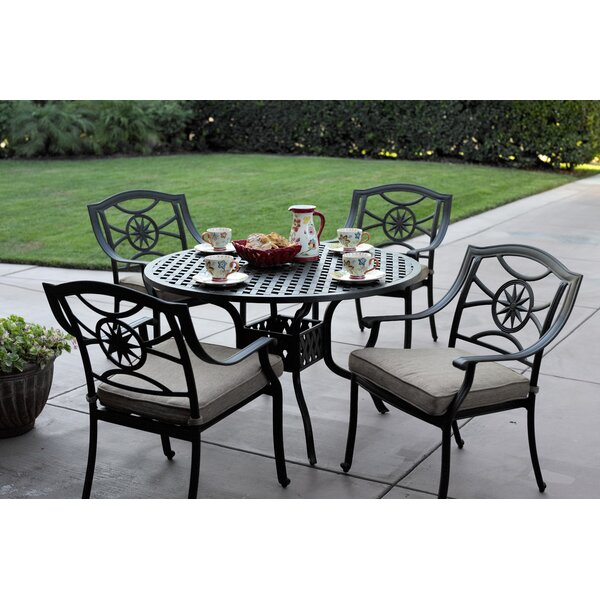 Thompsontown 5 Piece  Powder-Coated Dining Set with Cushions by Alcott Hill