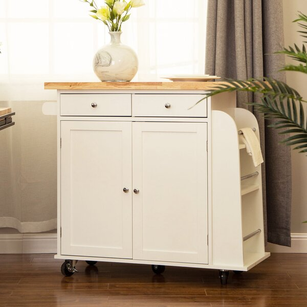 Courtland Kitchen Island With Rubberwood Top By August Grove Read Reviews