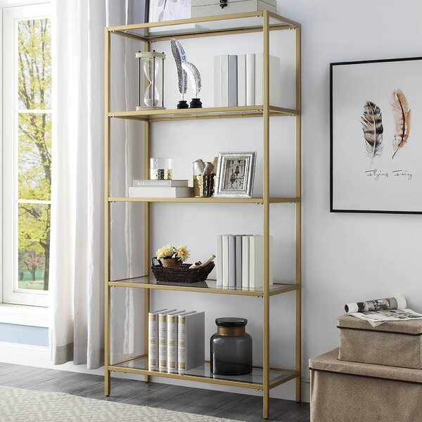Beadnell Glass Shelves Standard Bookcase by Ivy Bronx