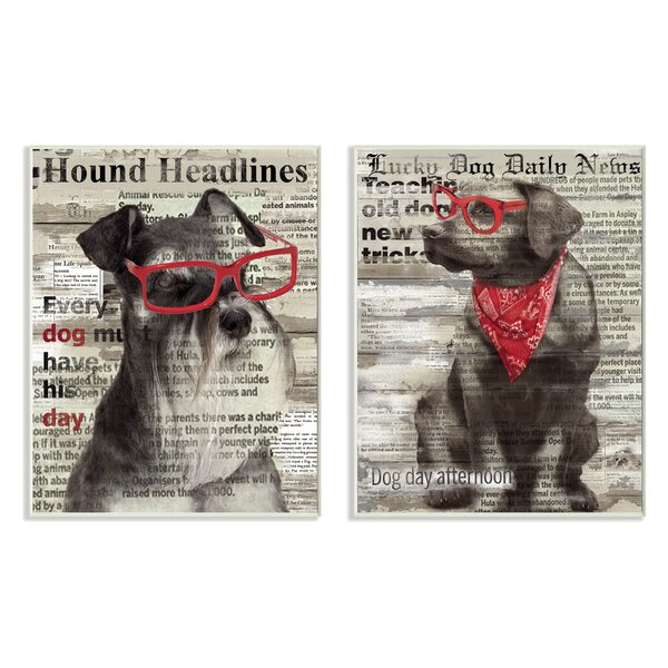 Dogs with Red Sunglasses on Newsprint Typography 2 Piece Graphic Art Wall Plaque Set by Stupell Industries