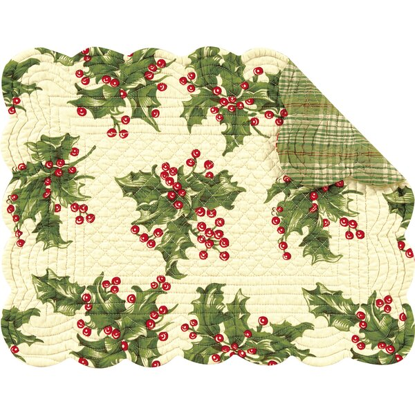 Holly Reversible Quilt Placemat (Set of 6) by C&F Home
