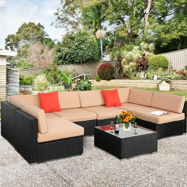 Ramet 7 Piece Rattan Sectional Seating Group with Cushions by Wrought Studio