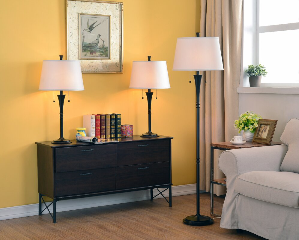 Wildon home rowena 3 piece table and floor lamp set reviews rowena 3 piece table and floor lamp set geotapseo Gallery