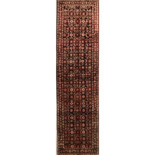 Compare One-of-a-Kind McLelland Malayer Vintage Persian Medallion Hand-Knotted Runner 3'6 x 13'1 Wool Burgundy/Beige/Black Area Rug By Isabelline
