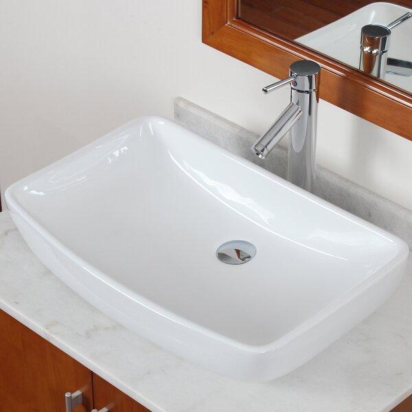 Grade A Ceramic Rectangular Vessel Bathroom Sink by Elite