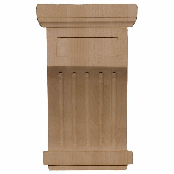 Fluted 7H x 4 1/4W x 4 1/4D Corbel in Rubberwood by Ekena Millwork
