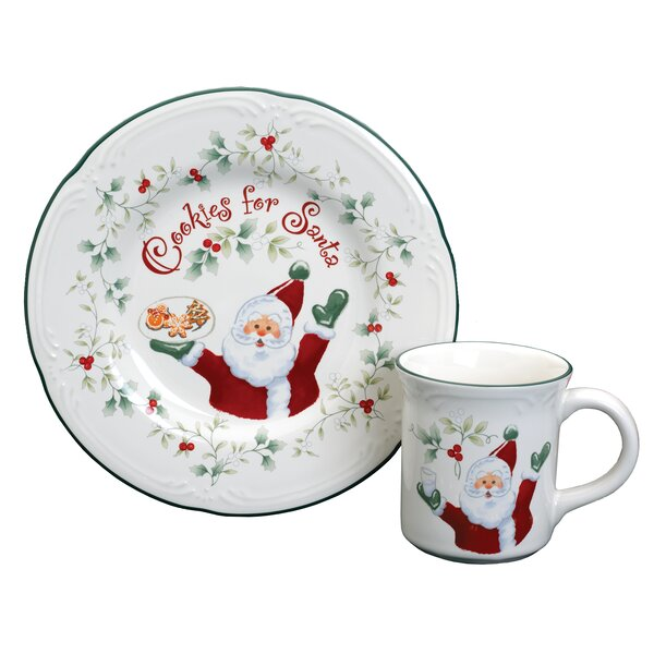 Winterberry Cookies And Milk for Santa 2 Piece Place Setting, Service for 1 by Pfaltzgraff